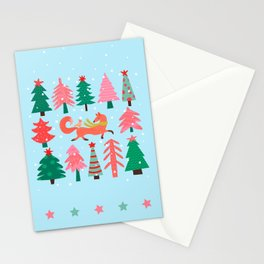 Fox And Bird In A Christmas Tree Winter Wonderland Stationery Cards