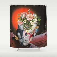 eugenia loli Shower Curtains featuring Relics by Eugenia Loli