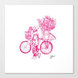 Bicycle Flower Seller in Hanoi Canvas Print