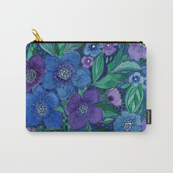 Watercolor . Blue flowers . Carry-All Pouch