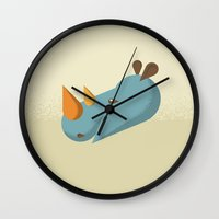 rhino Wall Clocks featuring Rhino by Mr. Peruca