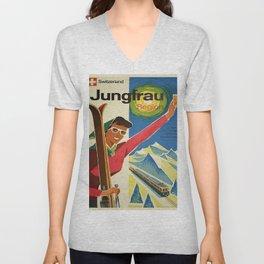 Vintage poster - Jungfrau, Switzerland Unisex V-Neck