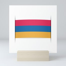 Flag of Armenia. The slit in the paper with shadows. Mini Art Print