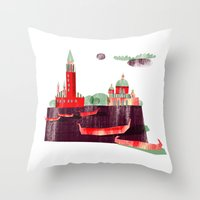venice Throw Pillows featuring Venice by Claudia Voglhuber