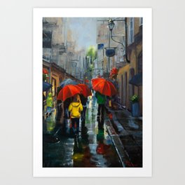 Red Umbrellas and Reflections Art Print
