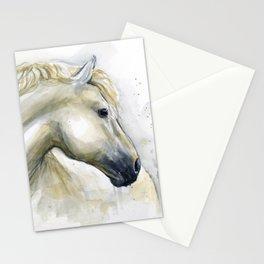 White Horse Watercolor Painting Animal Horses Stationery Cards