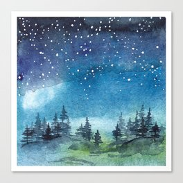 Starry Night over Forest Canvas Print
