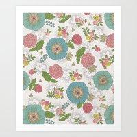 manchester Art Prints featuring Manchester floral by Silvia Dekker