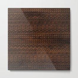 Aztec Tribal Andes Carved brown wood grain pattern Metal Print