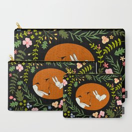 Friendship in Wildlife_Fox and Bunny_Bg Black Carry-All Pouch