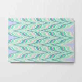 Seafoam soft green blue infinite ikat pattern, old style wavy chevron  Metal Print