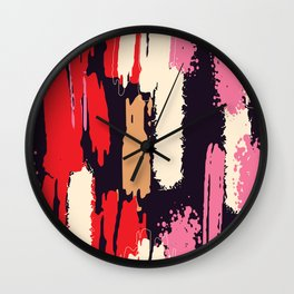 Abstract Brushstrokes in Pink and Red Wall Clock
