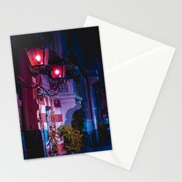At the door | Night Collection | Red lights | Street photography Stationery Cards