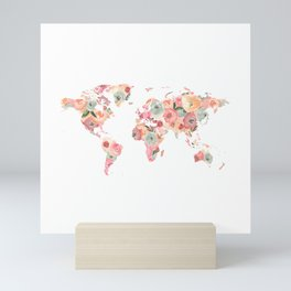 Floral Watercolor World Map - Pink, Coral, Aqua Flowers Mini Art Print
