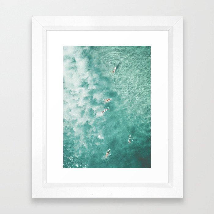 Surfing in the Ocean Framed Art Print