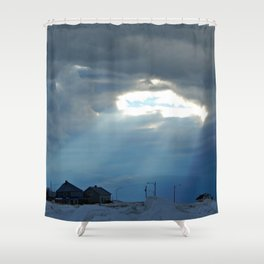 Whale Shaped Light Beam Shower Curtain
