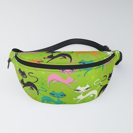 Prancing Kittens on Lime Fanny Pack