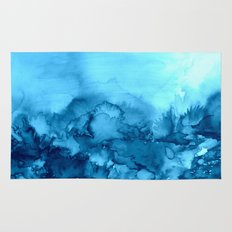 INTO ETERNITY, TURQUOISE Colorful Aqua Blue Watercolor Painting Abstract Art Floral Landscape Nature Rug