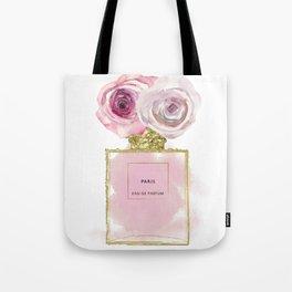 Pink & Gold Floral Fashion Perfume Bottle Tote Bag
