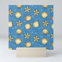 Blue seamless of gold seashells Mini Art Print