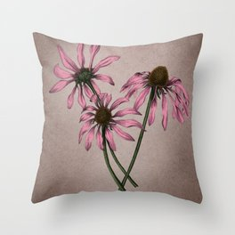 Vintage Style Botanical Purple Coneflower Drawing Throw Pillow