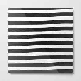 Brushy Stripes - Dark Gray Metal Print