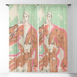 WOMAN IN A TERRACOTTA DRESS Sheer Curtain