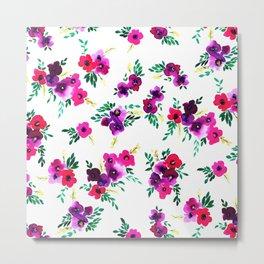 Ava Floral Pink Metal Print