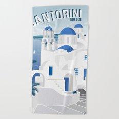 Vintage Santorini poster Beach Towel