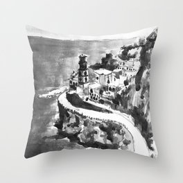Amalfi Coast Italy Black and White Watercolor Painting Throw Pillow