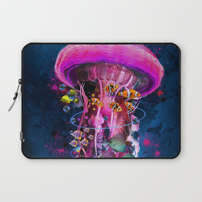 Pink Electric Jellyfish Laptop Sleeve