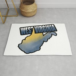 West Virginia State Text Watercolor Art Print Rug