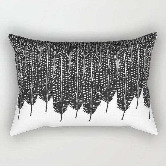 Black & White Feather Wilderness Rectangular Pillow