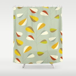 Mid Century Modern Graphic Leaves Pattern 1. Vintage green Shower Curtain