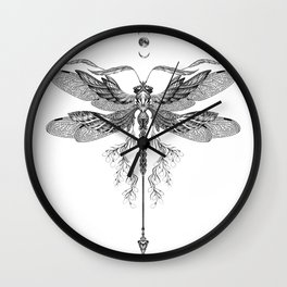 Dragon Fly Tattoo Black and White Wall Clock