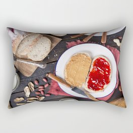 Peanut butter and jelly sandwich on a rustic table Rectangular Pillow