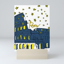 Rome Italy Colosseum Starry night Mini Art Print