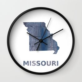 Missouri map outline Slate gray vague watercolor painting Wall Clock