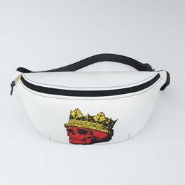 A Skull colored red with a Gold Crown Fanny Pack