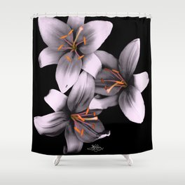Black and White Ant Lilies Flower Scanography Shower Curtain
