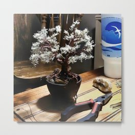 Wire Bonsai Metal Print