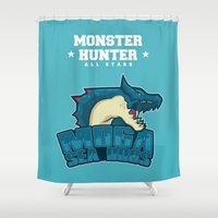 monster hunter Shower Curtains featuring Monster Hunter All Stars - Moga Sea Dogs by Bleached ink