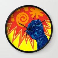 superheroes Wall Clocks featuring Superheroes SF by Nick Volkert