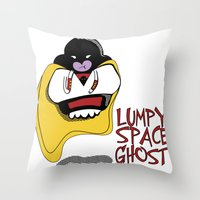 lumpy space princess Throw Pillows featuring Lumpy Space Ghost by The Geekerie