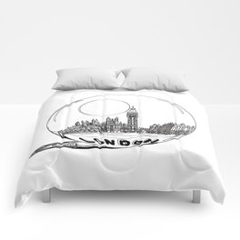 London in a glass ball . artwork Comforters