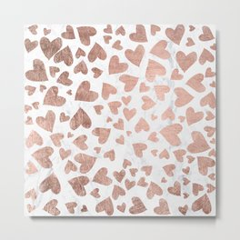 Modern rose gold handdrawn hearts love valentine white marble pattern Metal Print