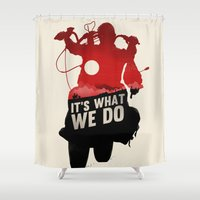 daryl dixon Shower Curtains featuring Daryl Dixon - Red and Black by Duke Dastardly