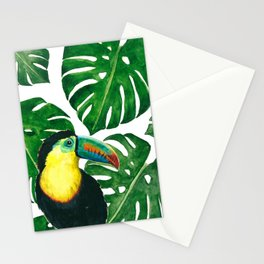Toucan parrot with monstera leaf pattern Stationery Cards