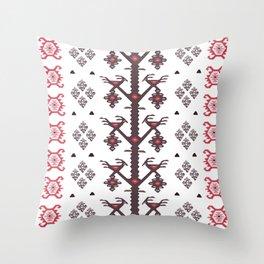 Tribal Ethnic Love Birds Kilim Rug Pattern Throw Pillow