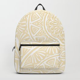 Pale Yellow Simple Simplistic Mandala Design Ethnic Tribal Pattern Backpack